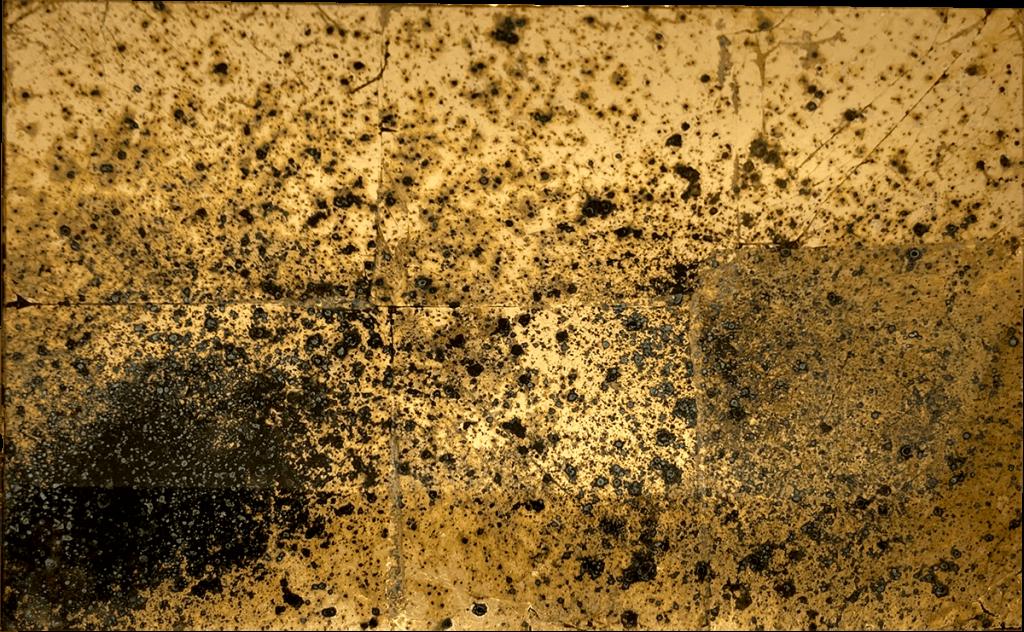 Foglia oro con ossidazione verderame a spruzzo e fondo nero